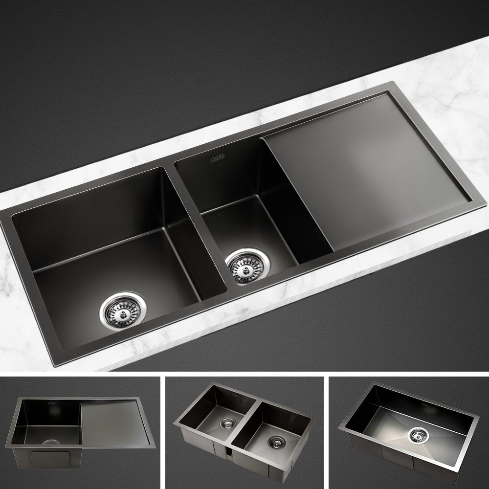 Handmade Kitchen Sink 304 Stainless Steel Sink Bowl Strainer in Black