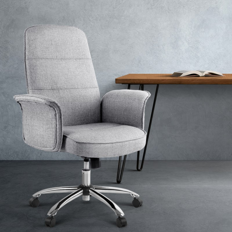 Artiss Trump Fabric Office Chair Grey, Grey Fabric Desk Chair With Arms