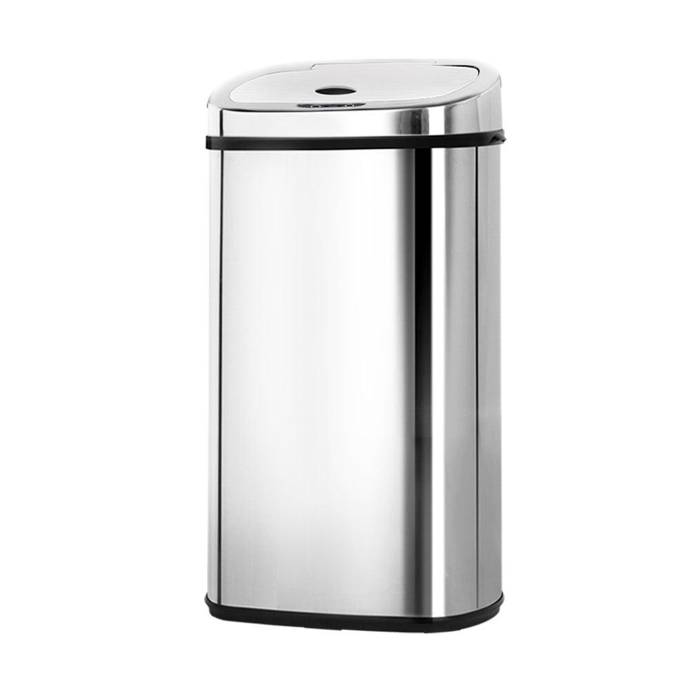 Devanti 50L Stainless Steel Motion Sensor Bin Rubbish Trash Can Automatic Touch Free