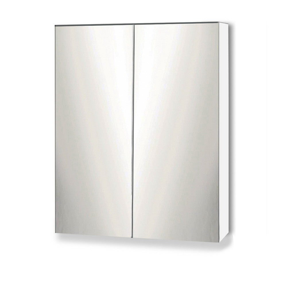 Cefito Bathroom Mirror Cabinet Vanity Medicine Wooden Shaving White 600mm x720mm