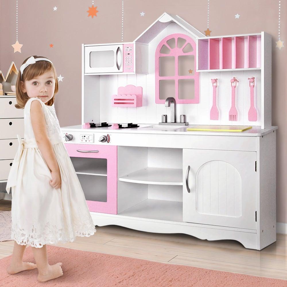Keezi Kids Kitchen Wooden Toys Pretend Role Play Set Children Cooking Cookware