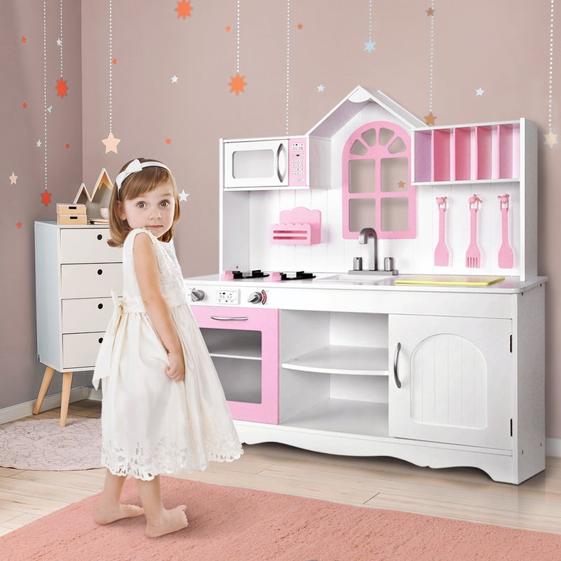 Keezi Kids Kitchen Wooden Toys Pretend Role Play Set Children Cooking Cookware Buy Play Kitchens Toy Food 9350062071472