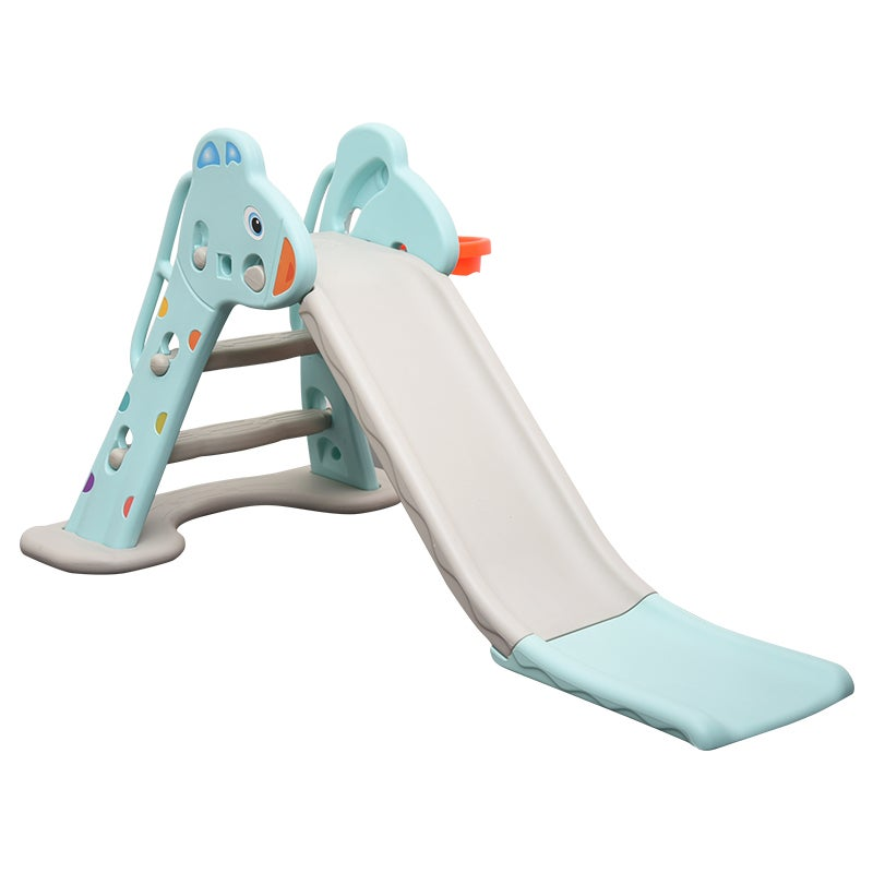 2-In-1 Kid's Slide & Basketball Playing Activity Set Blue Grey T2
