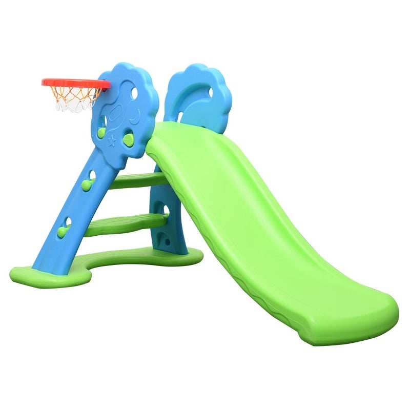 Foldable Kids Slide w/ Basketball Hoop Blue Green