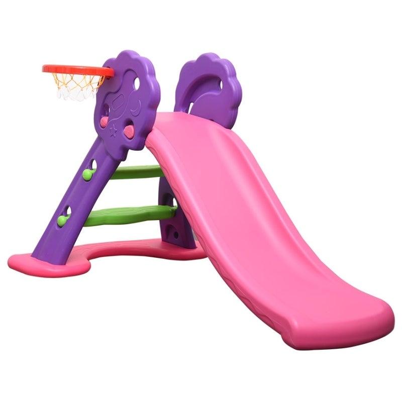 Foldable Kids Slide w/ Basketball Hoop Pink Purple