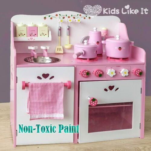 Kids Pink Wooden Strawberry Kitchen Pretend Play Set