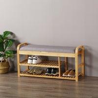 Sherwood Foldable Bamboo Cushioned Bench Shoe Storage