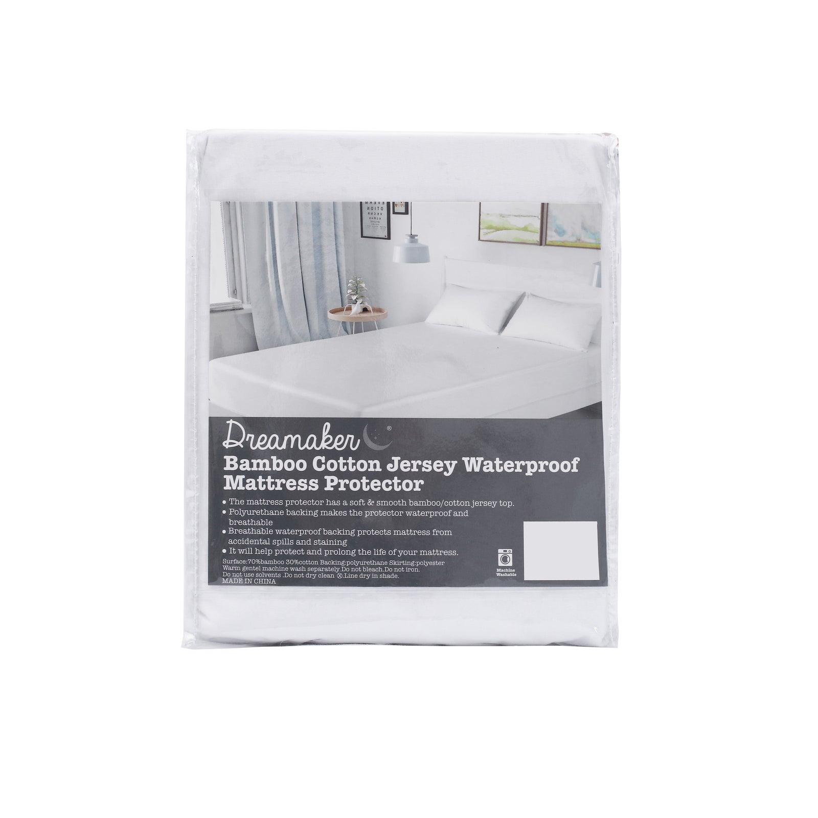 Dreamaker Bamboo Cotton Jersey Waterproof Mattress Protector - King Bed