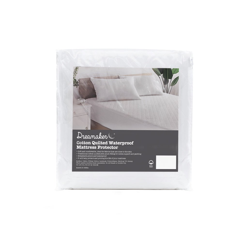 Dreamaker Cotton Quilted Waterproof Mattress Protector - King Bed