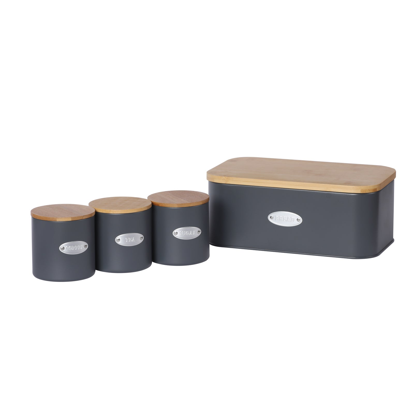 Sherwood Home Bread Box & Canister Set With Natural Bamboo Lids