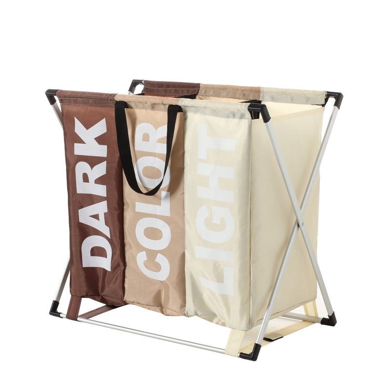 Sherwood Home Foldable Oxford Fabric Laundry Bag Aluminum Frame With 3 Individual Sections 64X36X62Cm