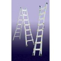 Aluminium Hinged Flared Adjust Ladder 1.02-3.20m