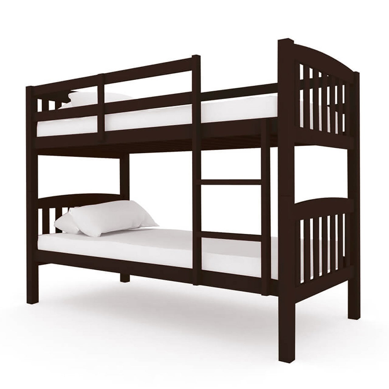 Dante 2-in-1 Solid Pine Timber Bunk Bed Cappuccino
