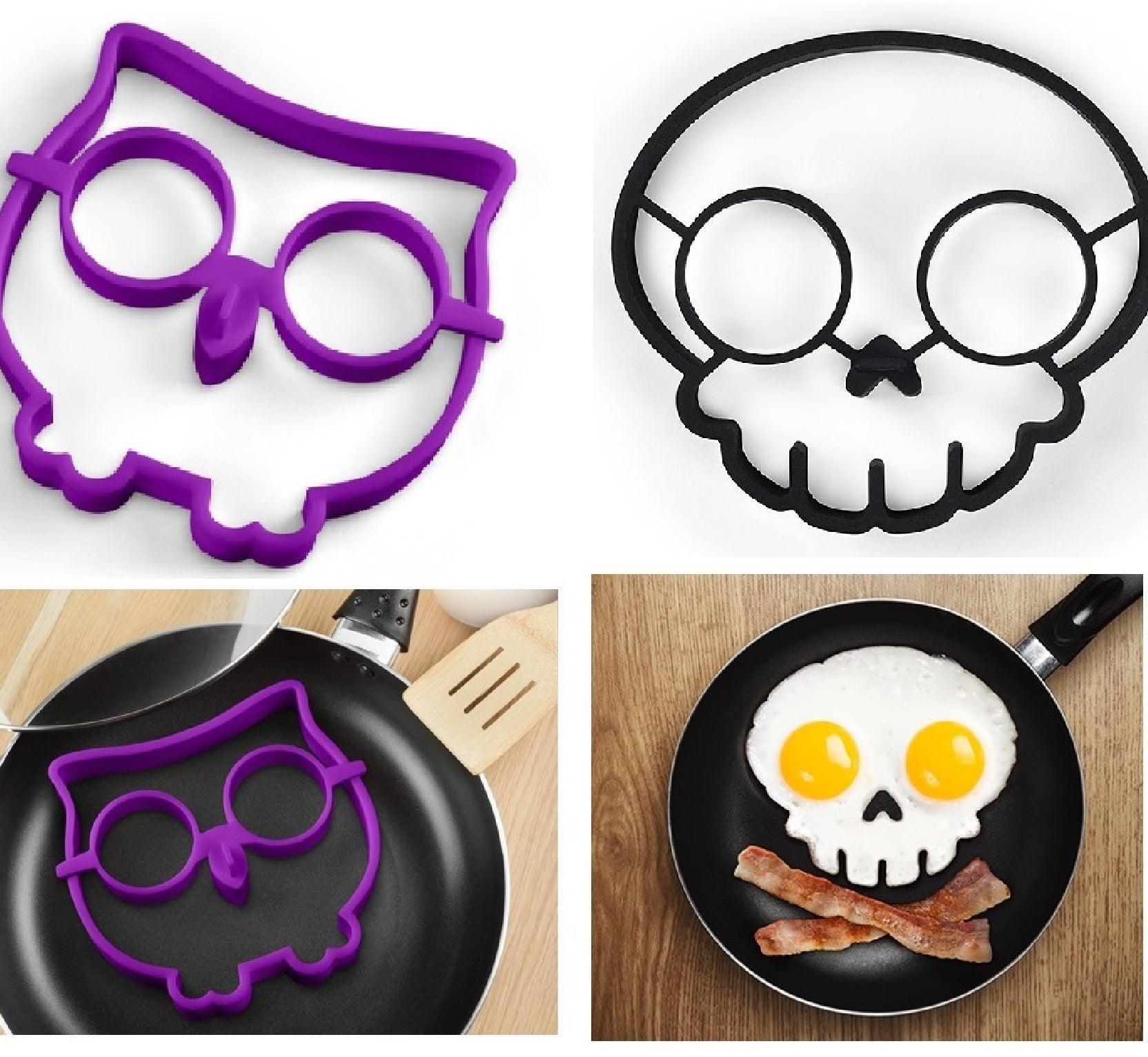 Funny Side Up Owl Egg Hoot Bird Shaper Skull Fried Egg Art Mould Breakfast Ring