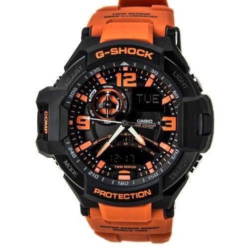 Casio G-Shock Gravitymaster Analogue Digital Mens Black Orange Watch GA1000-4A GA-1000-4A