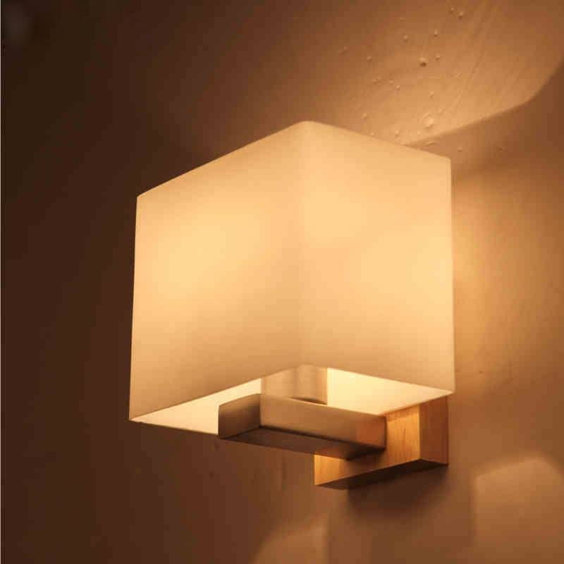 Contemporary Akili White and Timber Cube Wall Light