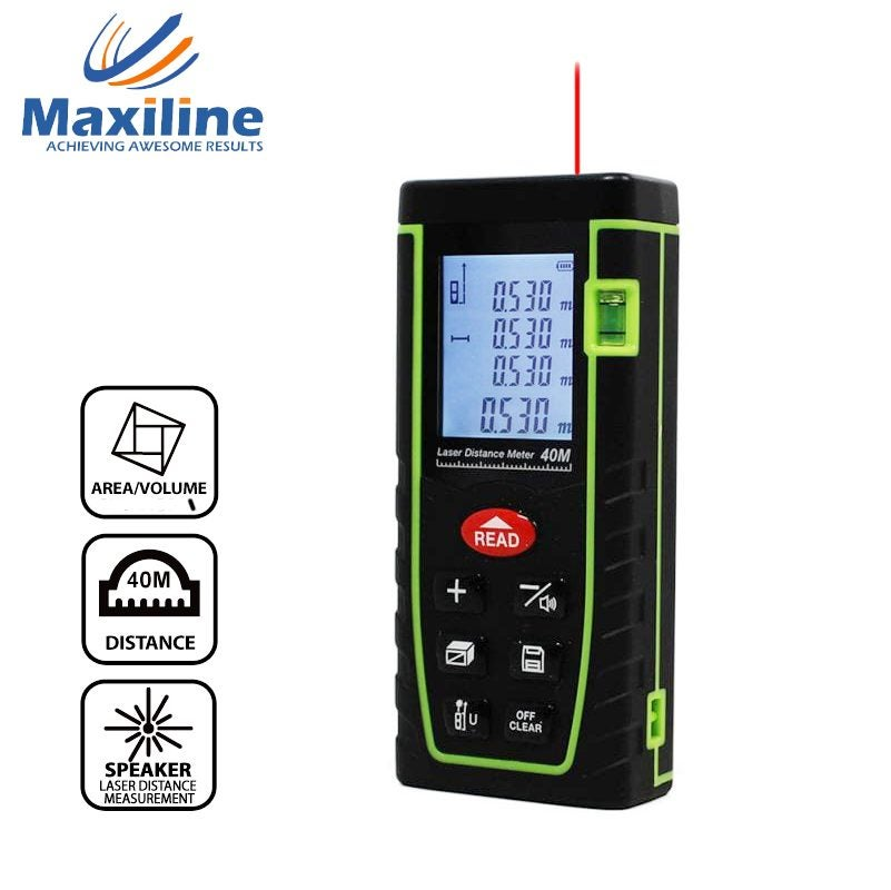 Maxiline 40M Laser Distance Meter Measurer Rangefinder Tape Measure Fathers Day Gift