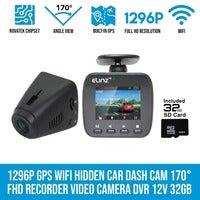 Elinz 1296P Hidden Car Dash Cam GPS WiFi 170° FHD Recorder Video Camera DVR 1080P 32GB