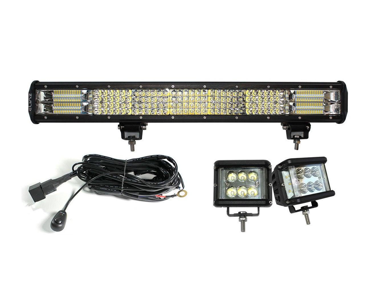 "Elinz 23"" LED Light Bar Philips 4 Rows Bundle 2x 60W Driving WorkLight Flood Spot Beam"