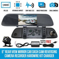 "5"" Rear View Mirror Car Dash Cam Reversing Camera Recorder Hardwire Kit Charger"