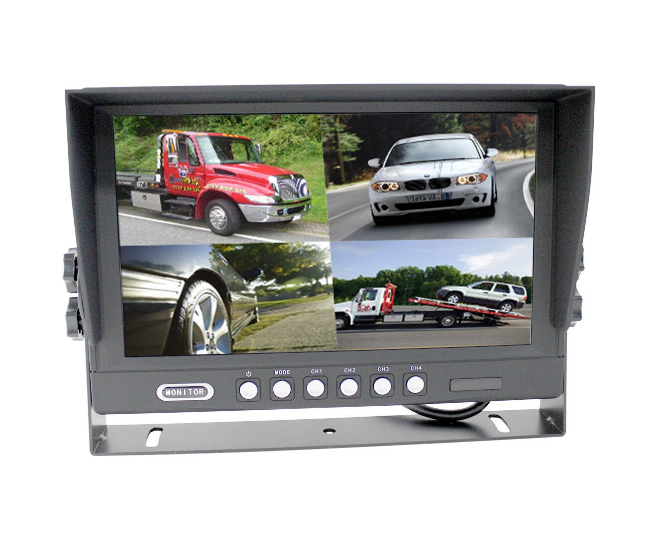 "Elinz 9"" Splitscreen Monitor 4PIN Rearview 12V/24V Sunshade 4 AV Inputs 800x480"