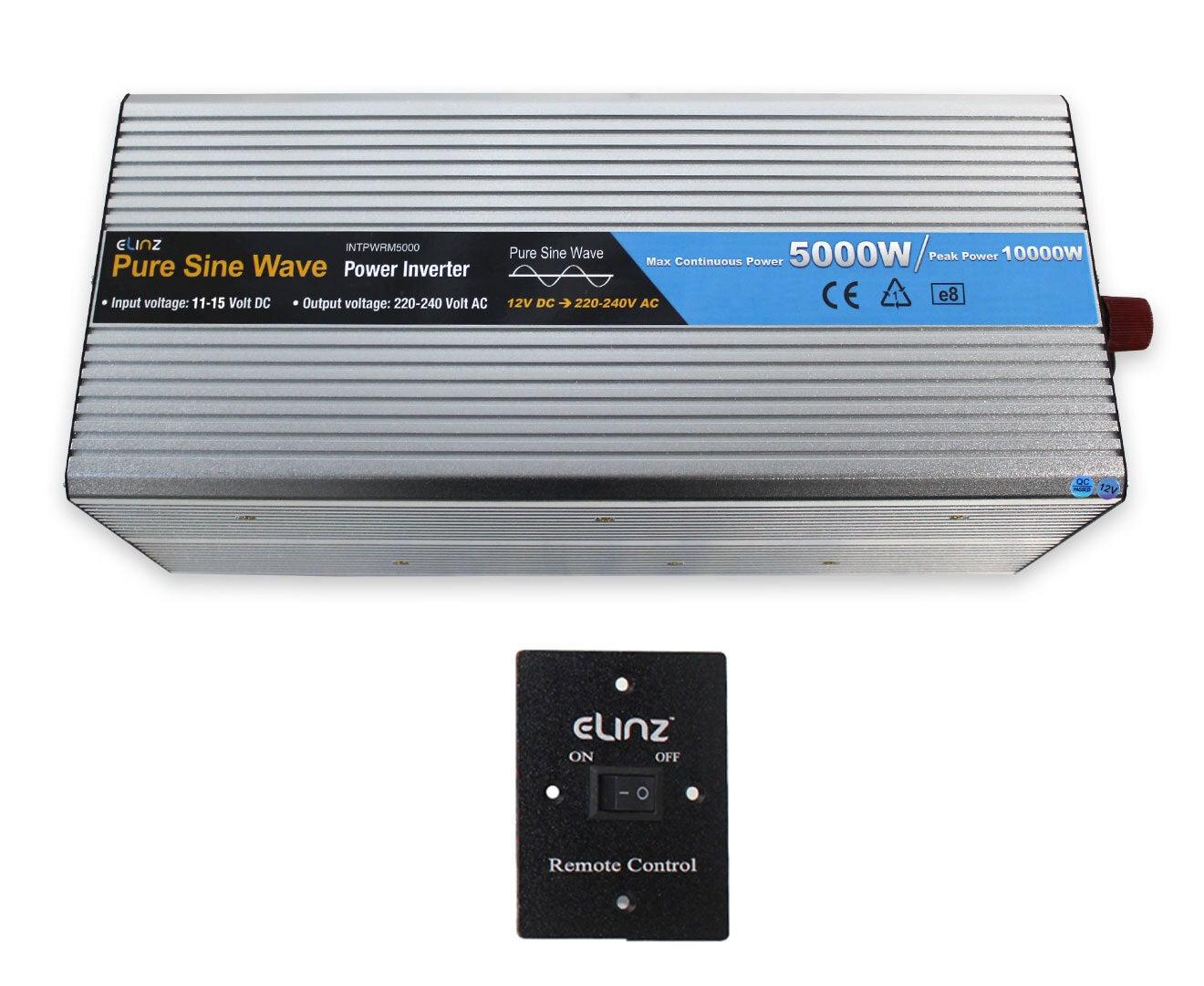 Elinz 5000W/10000W Pure Sine Wave Power Inverter 12V-240V AUS Plug Remote Control