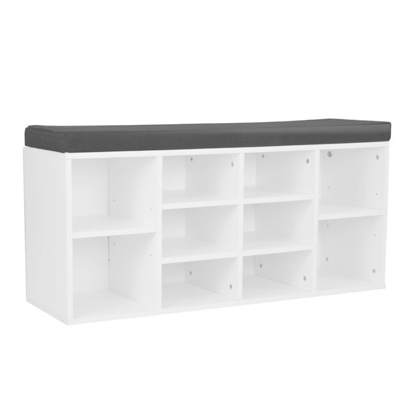 10 Pairs Shoe Cabinet Rack Storage Organiser Shelf Stool Bench Grey Cushion