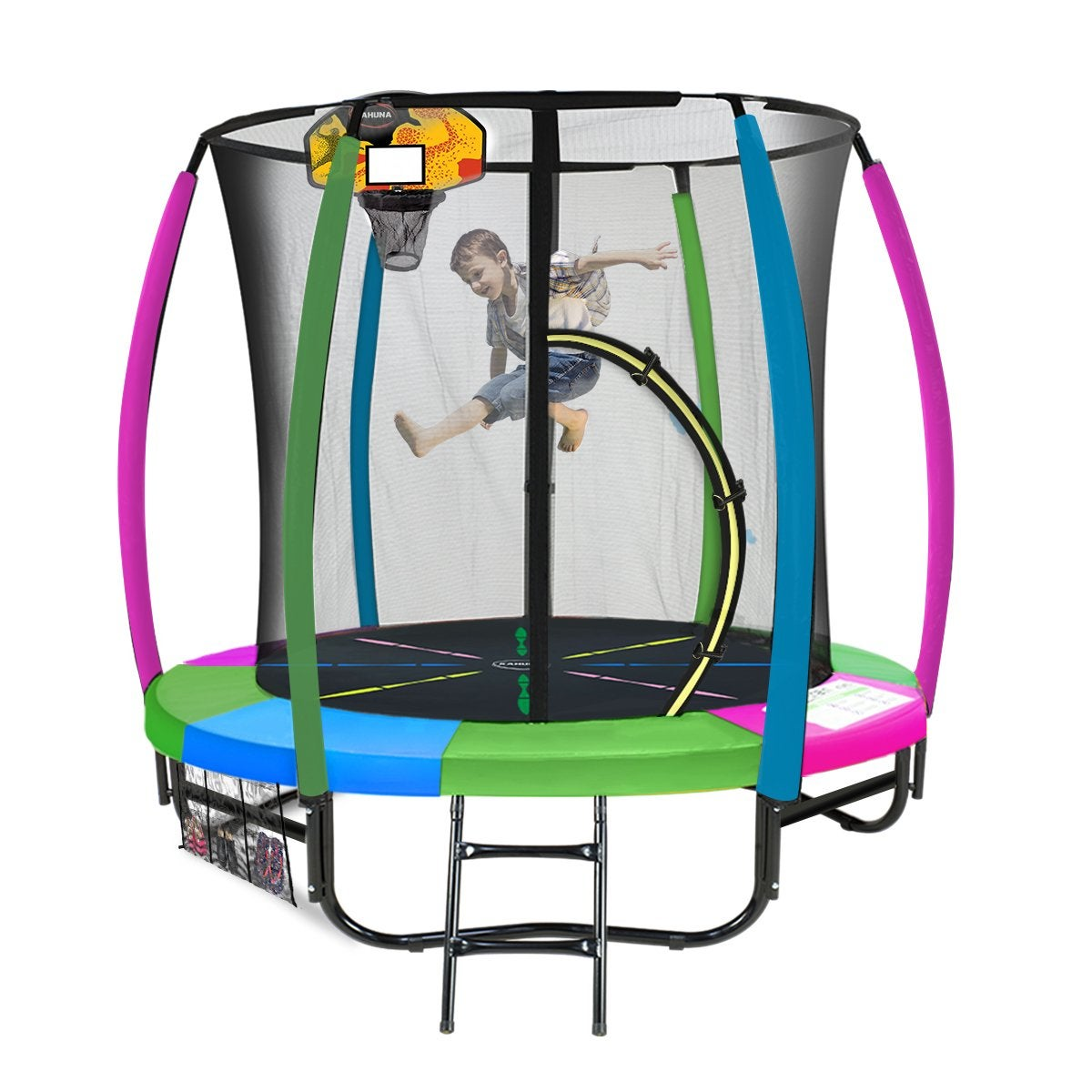 Kahuna Trampoline 6ft with Basketball Set - Rainbow