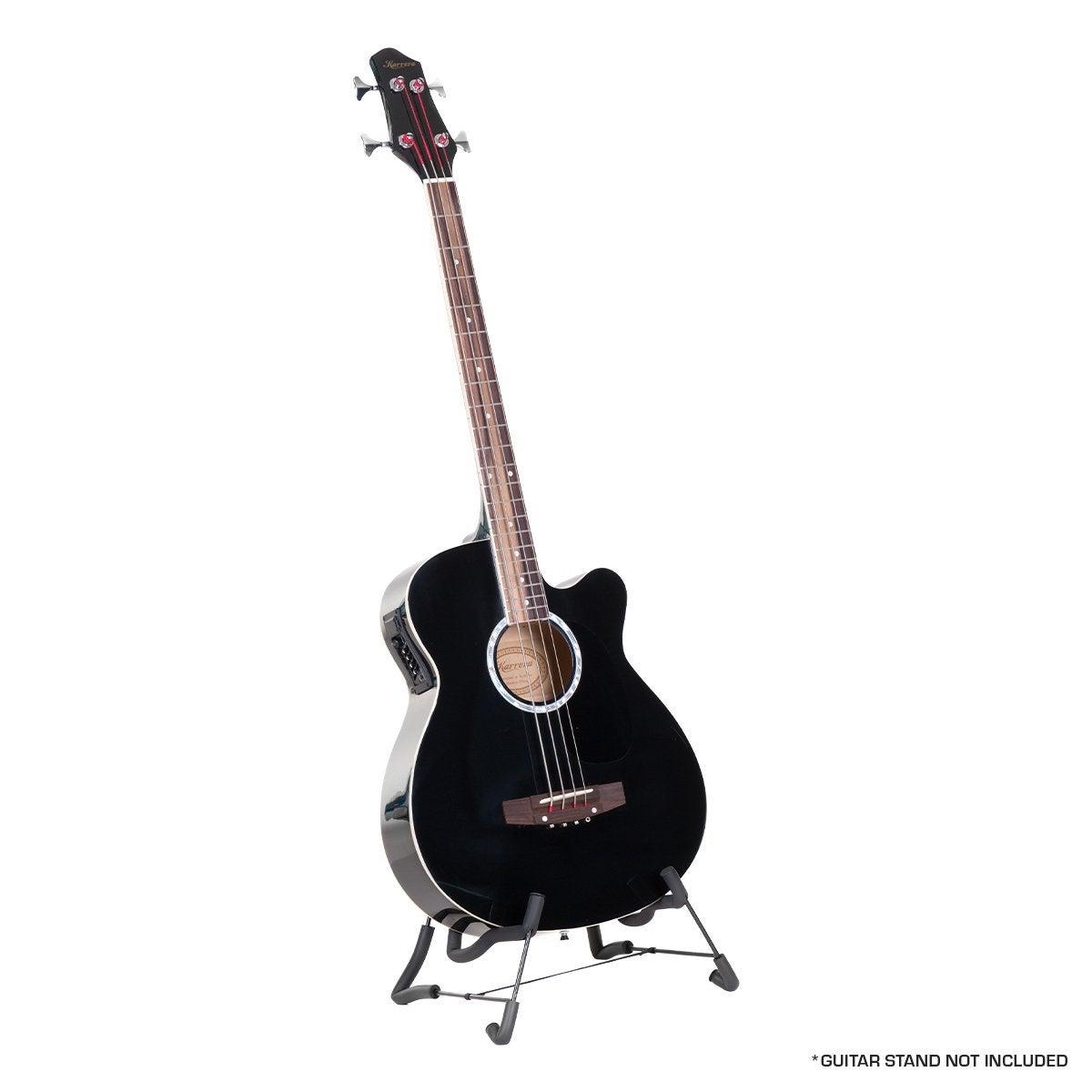 4 String Karrera Acoustic Bass Guitar Electric Pickup 4 Band Equalizer Black