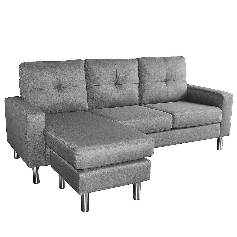Sarantino Adjustable Linen Corner Sofa Lounge Couch Modular Furniture L Chair Home Chaise Grey