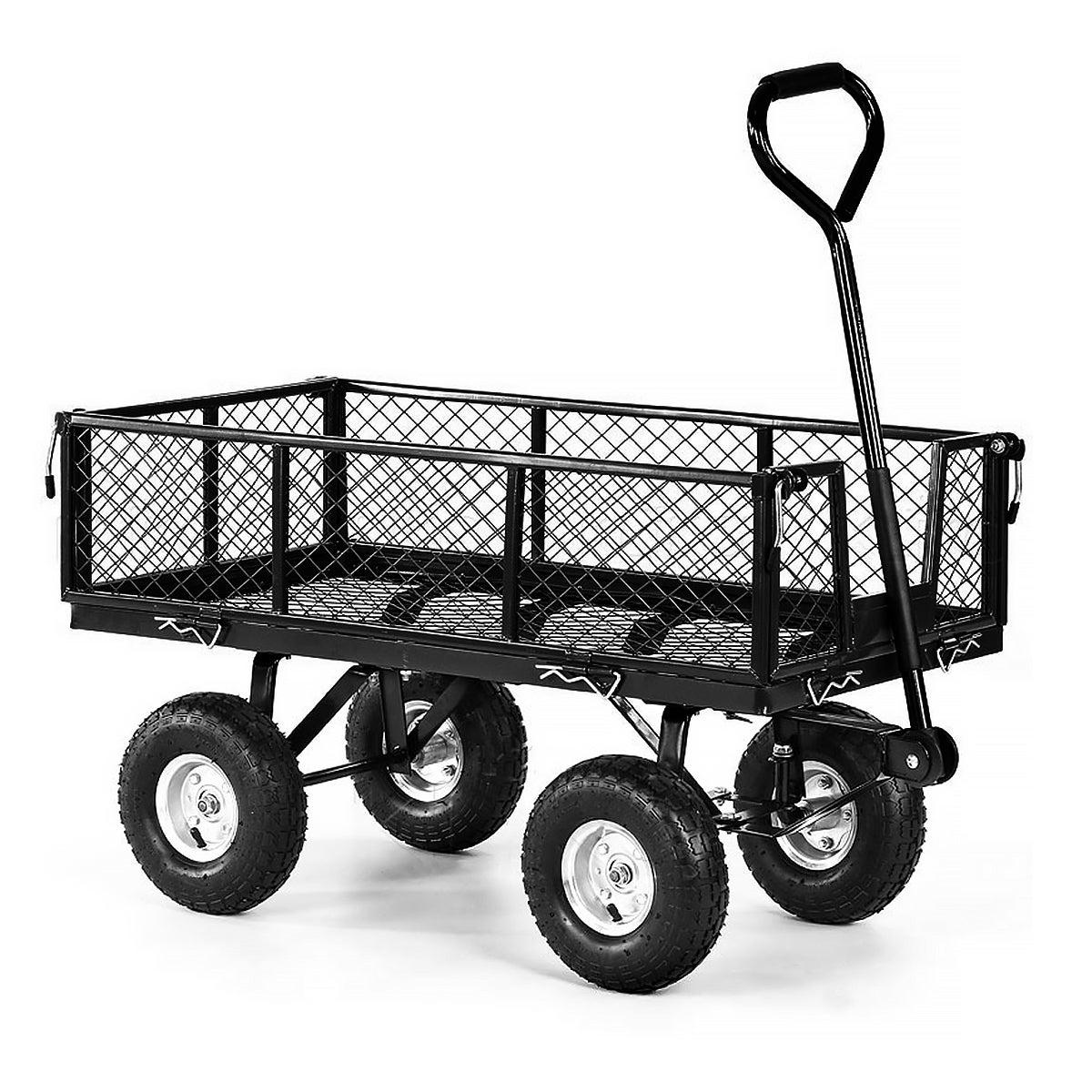 Heavy Duty Folding Garden Trolley Rust Free Cart Hand Utility Lawn- Black