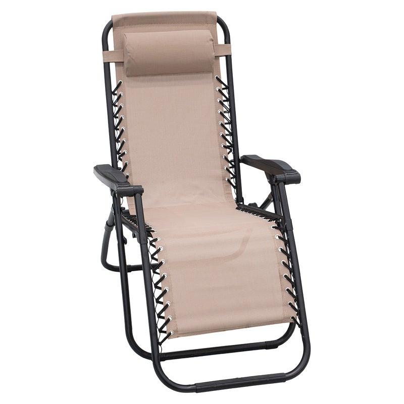 Zero Gravity Reclining Deck Lounge Sun Beach Chair Outdoor Folding Camping Beige