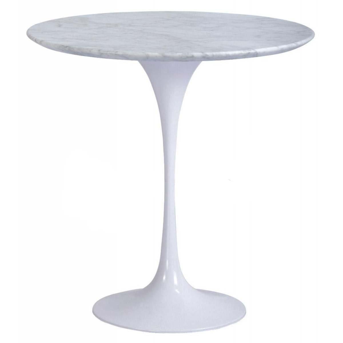 Tulip 50cm Round Marble Side Table - Eero Saarinen Replica - Aluminium