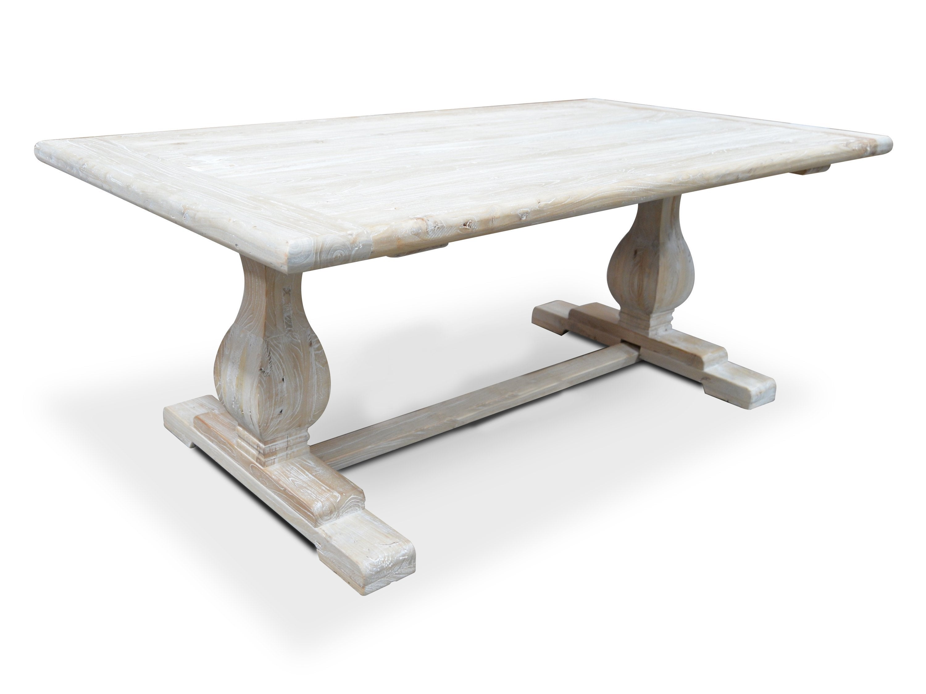 Titan Reclaimed 1.98m ELM Wood Dining Table - Rustic White Washed