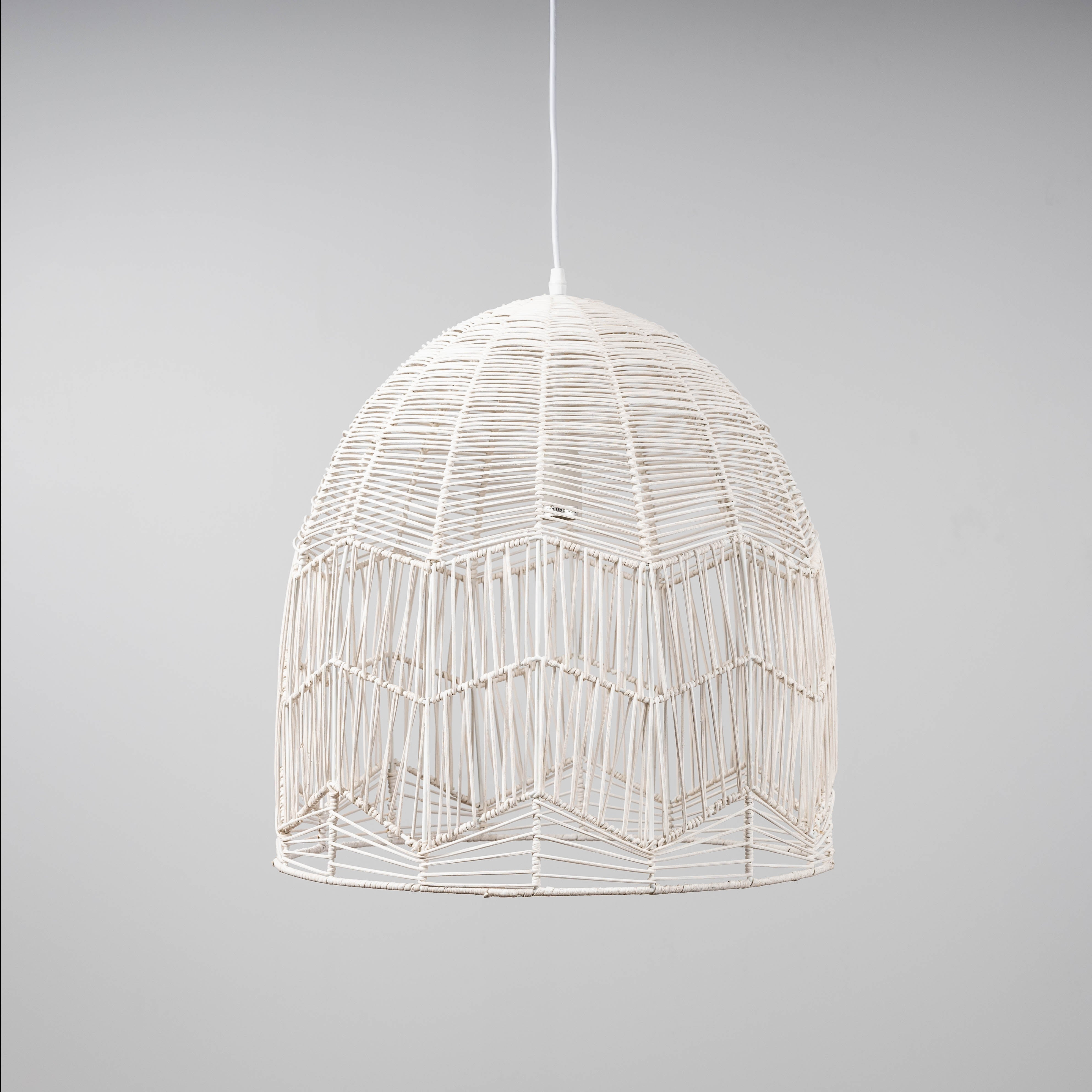 Whitewash Rattan Lace Pendant Light - Amalfi - 2 Sizes