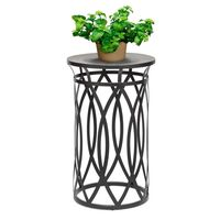 Round Corner Side Table with Cross Designer Legs Engraved Top - Black Gold