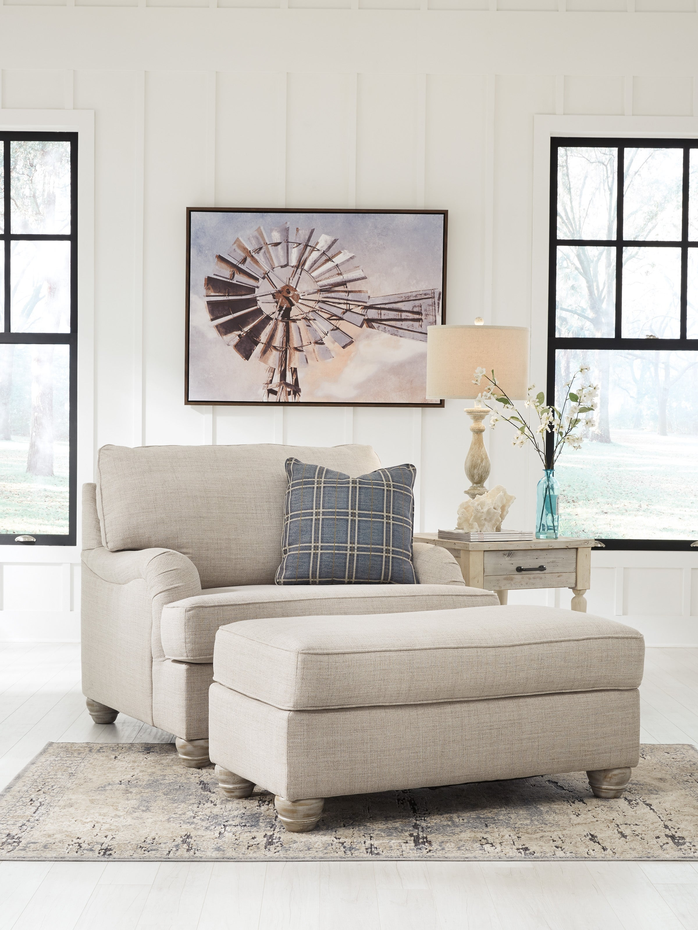 Isabelle 1 Seater Large Fabric Arm Chair With Ottoman - Beige - Traemore