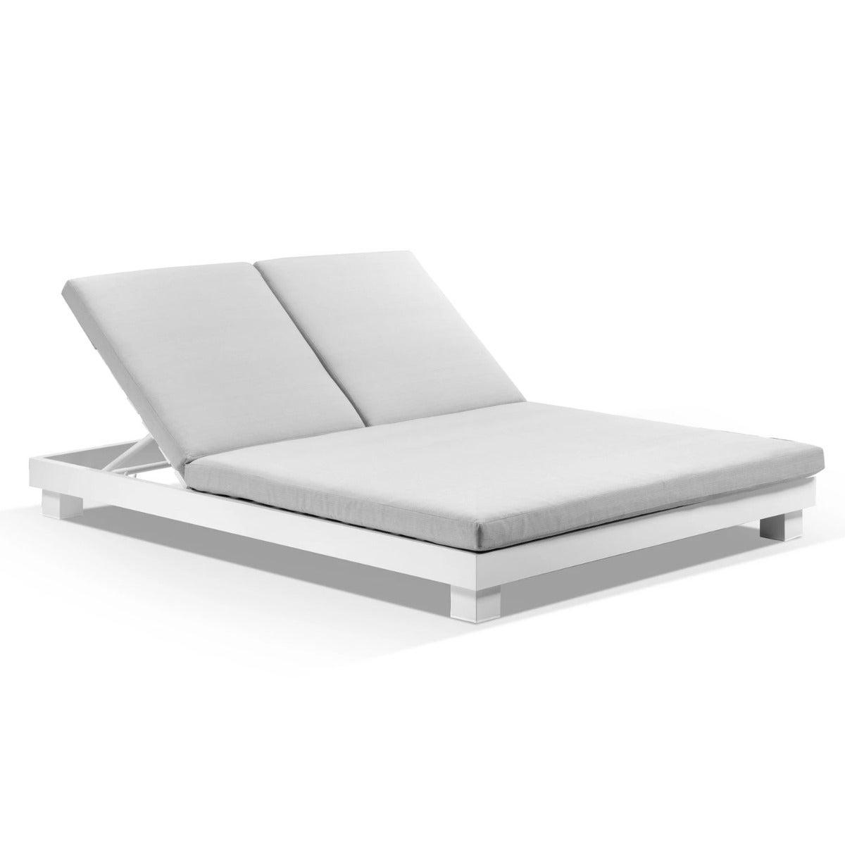 Santorini Aluminium Double Sun Lounge In White