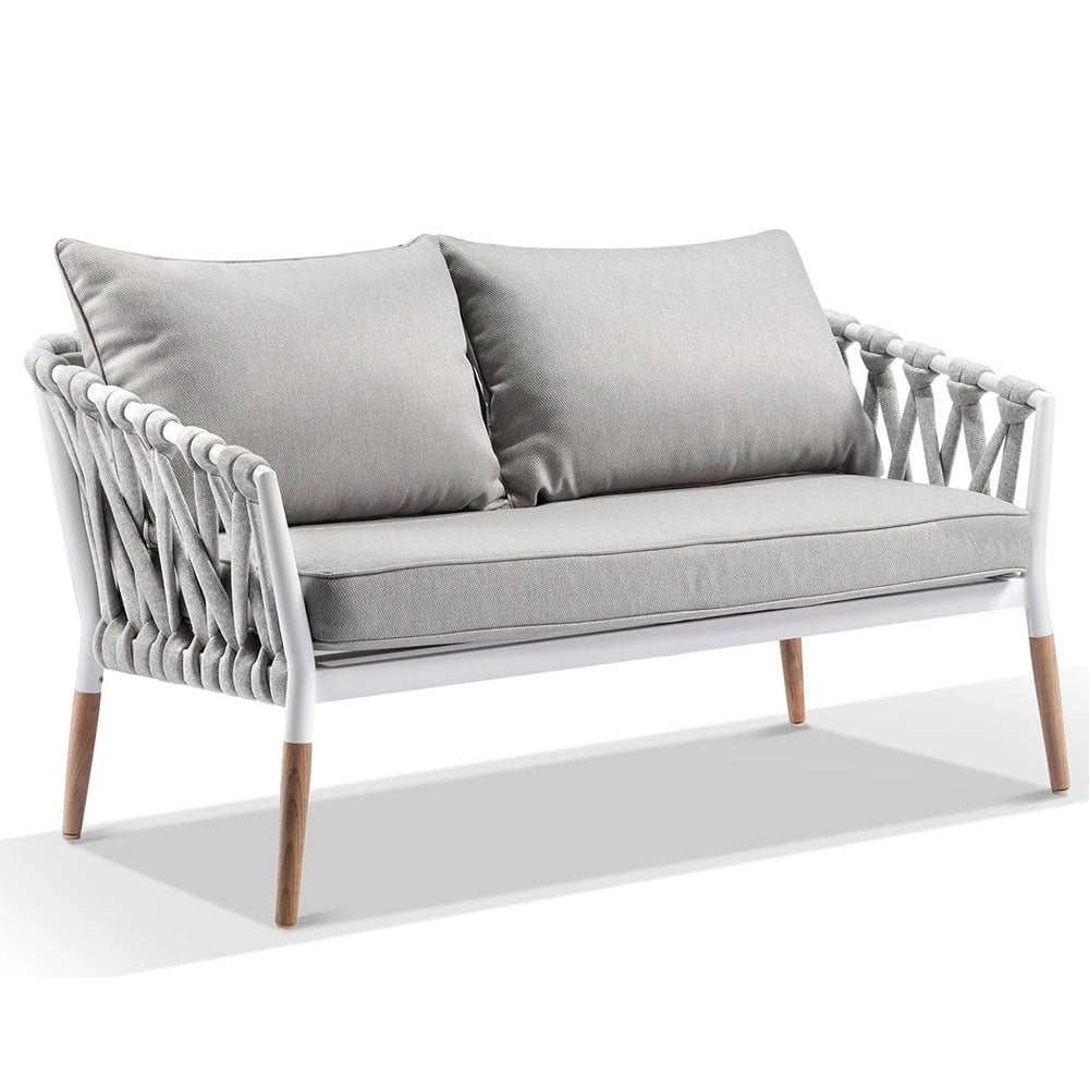 Silas Outdoor Ivory Rope 2 Seater Chair - Ivory Aluminium