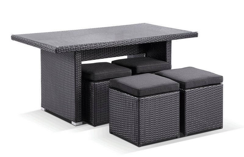 Wicker Dining Coffee Table With 4 Stowaway Ottomans