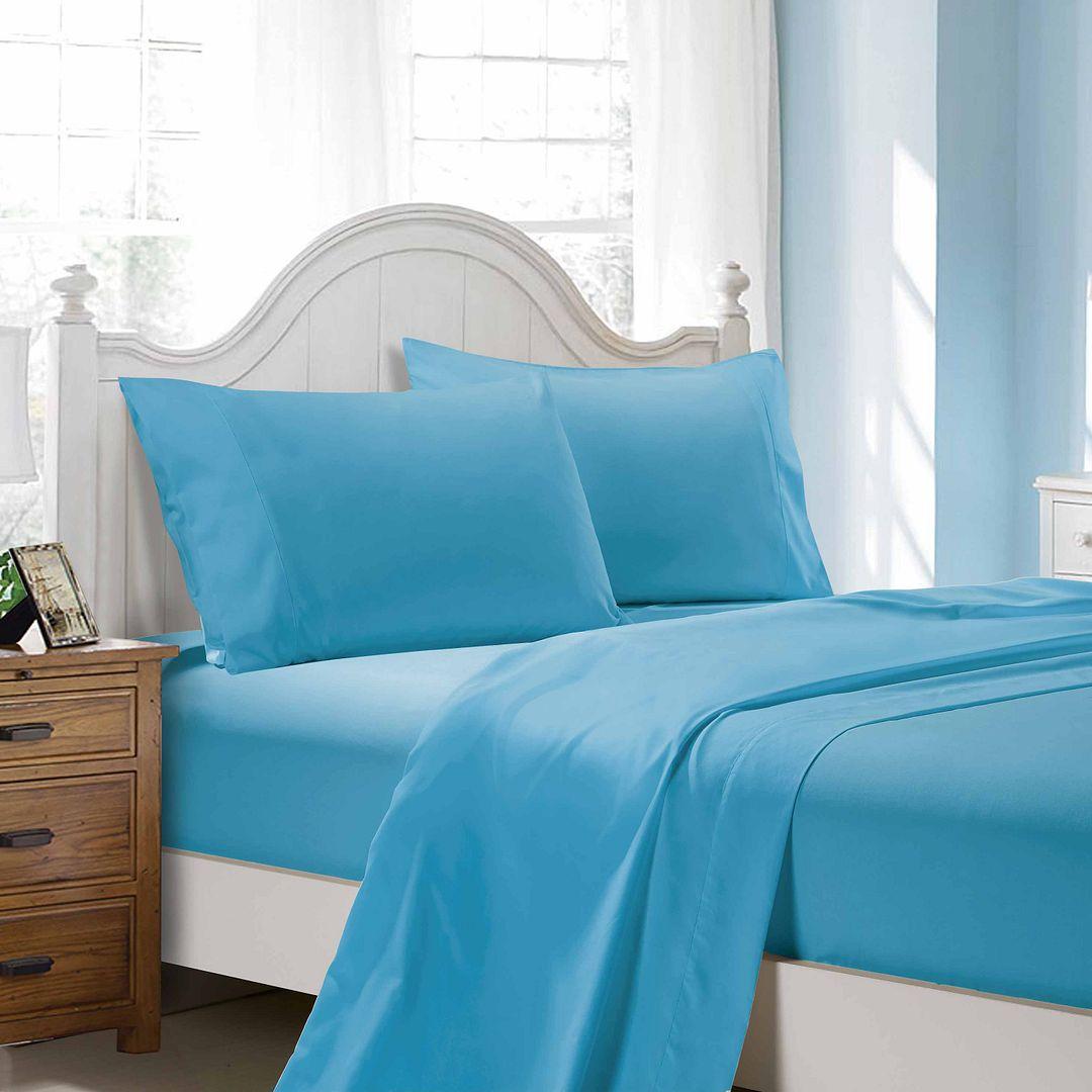 1000TC Ultra Soft 4-Piece King Size Sheet Set - Light Blue