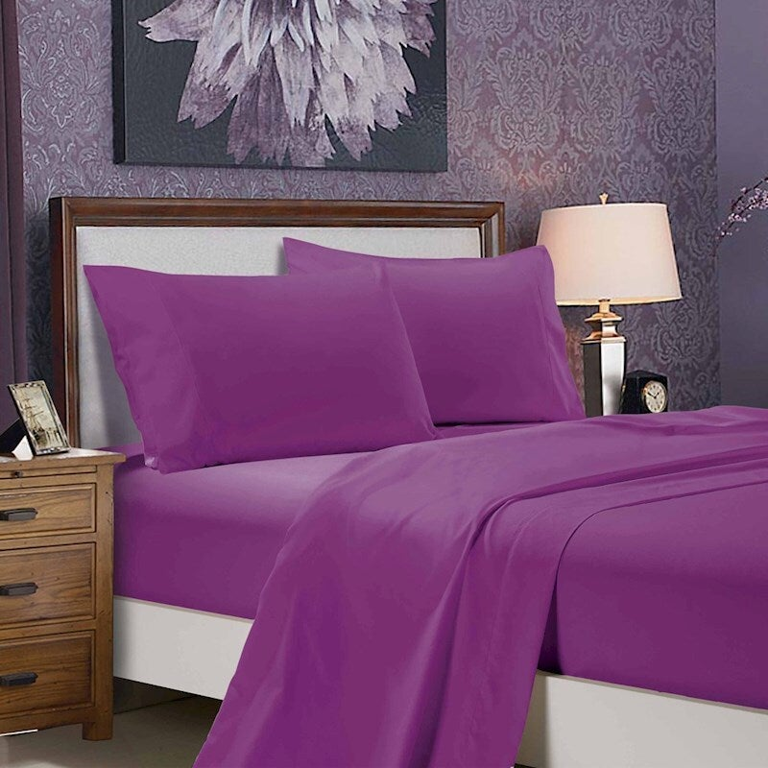 1000TC Ultra Soft 4-Piece Double Size Sheet Set - Purple