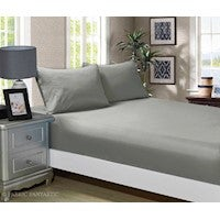 1000TC Ultra Soft 3-Piece Queen Size Bed Fitted Sheet & 2 Pillowcases Set - Grey