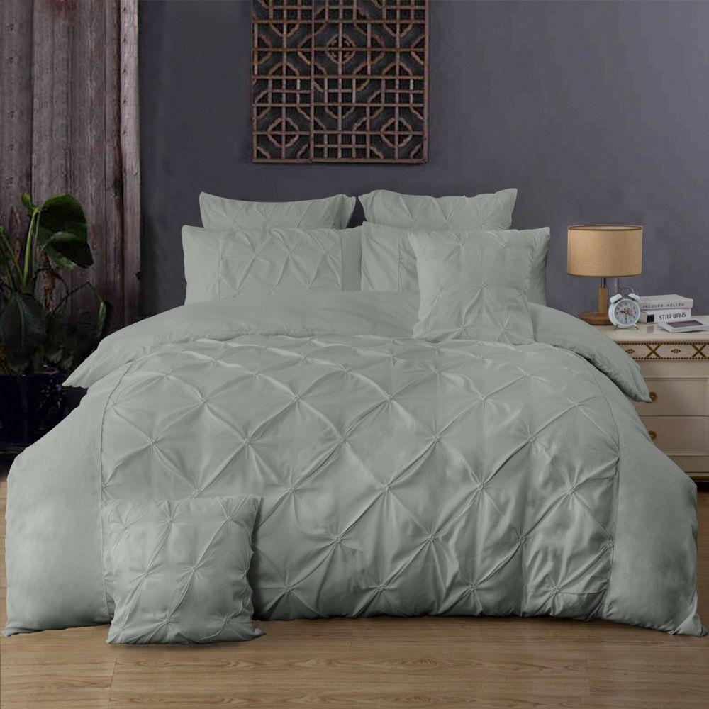 Diamond Pintuck King Size Bed Quilt Doona Duvet Cover & Pillow Cases Set - Grey