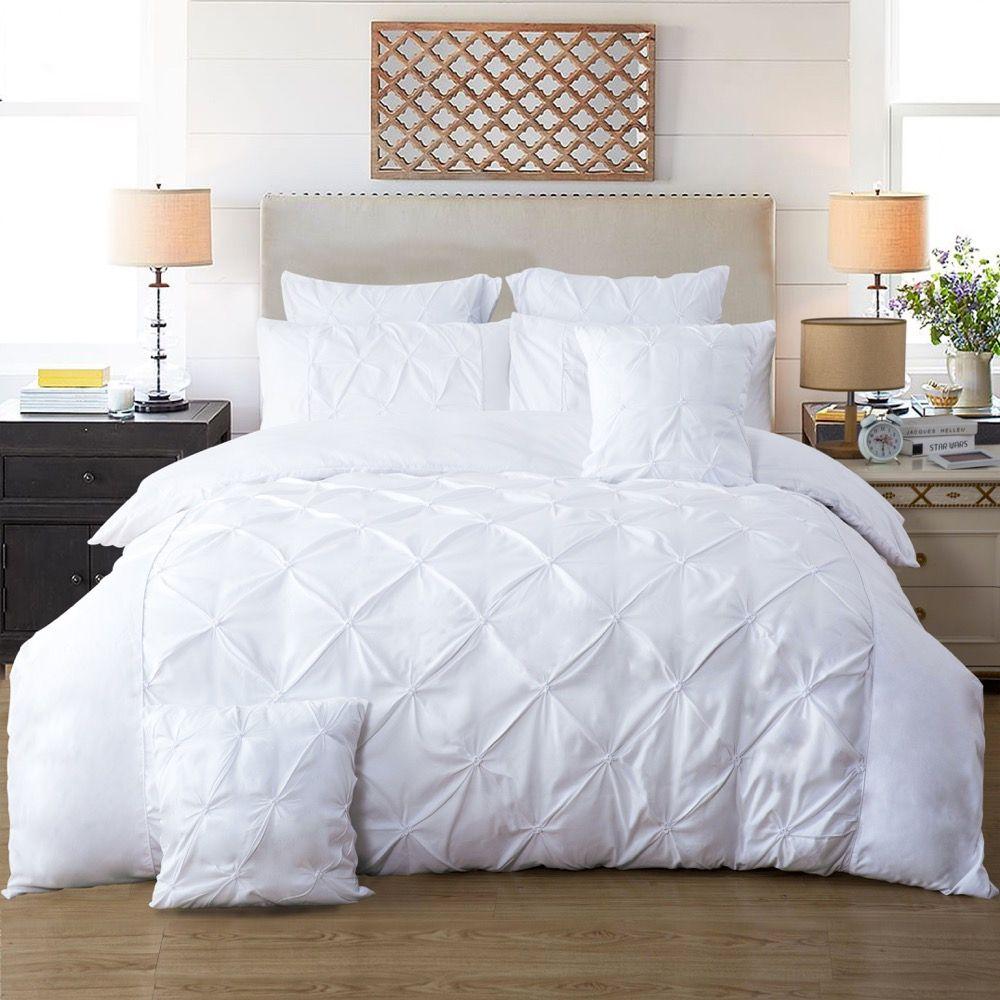 Diamond Pintuck Queen Size Bed Quilt Doona Duvet Cover & Pillow Cases Set - White