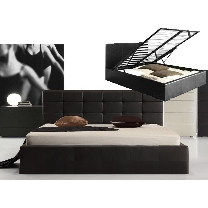 Fife Double Size PU Leather Gas Lift Bed Frame in Black