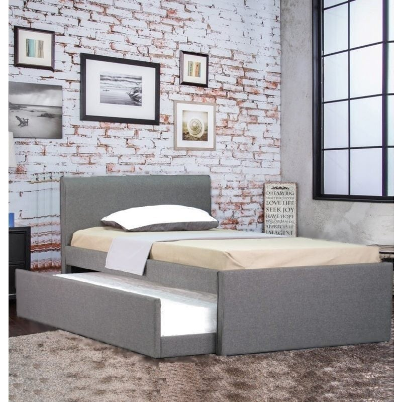 Devonshire Fabric King Single Bed Frame Grey w/ Trundle