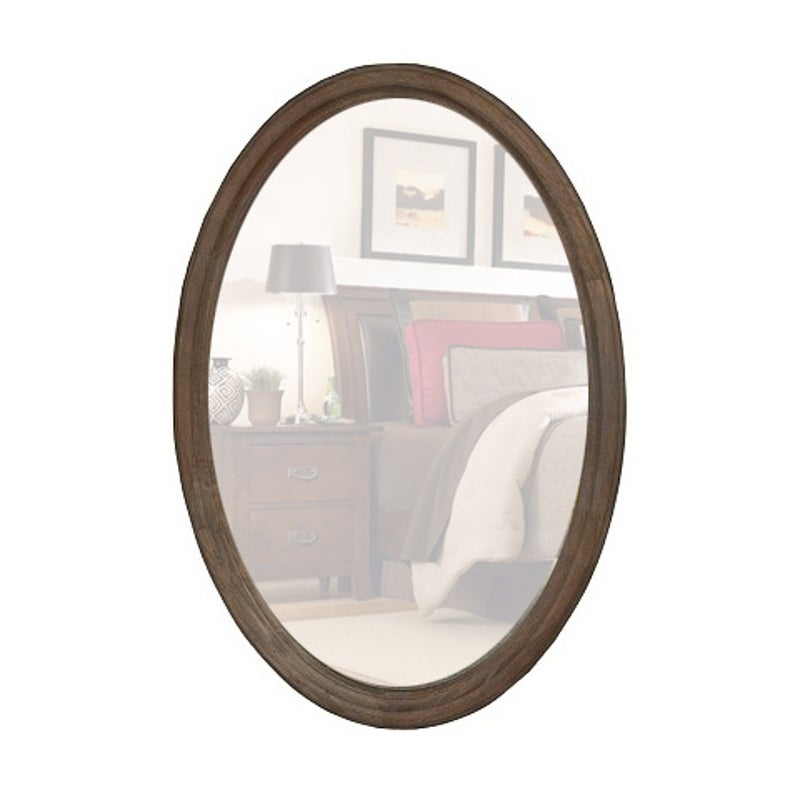 Decorative Wood Frame Oval Wall Mirror, Whitewash Oval Wood Wall Mirror