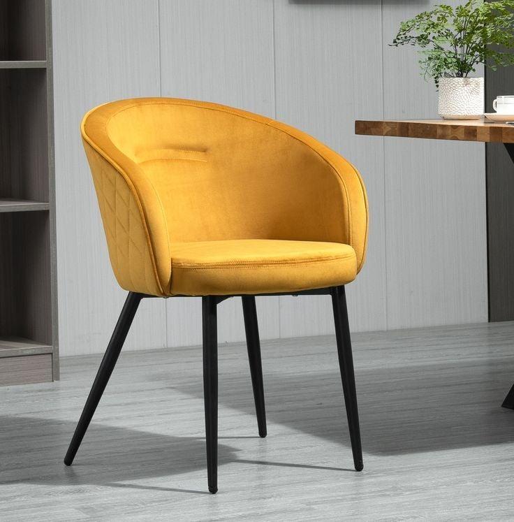 2 X Mustard Yellow Fabric Velvet Upholstered Dining Chairs Metal Legs
