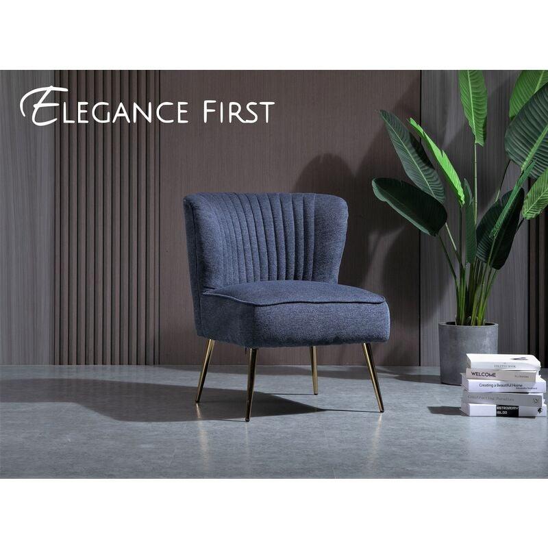 Deep Blue Linen Slipper Accent Chair Lounge Chair Linen Fabric Metal Frame